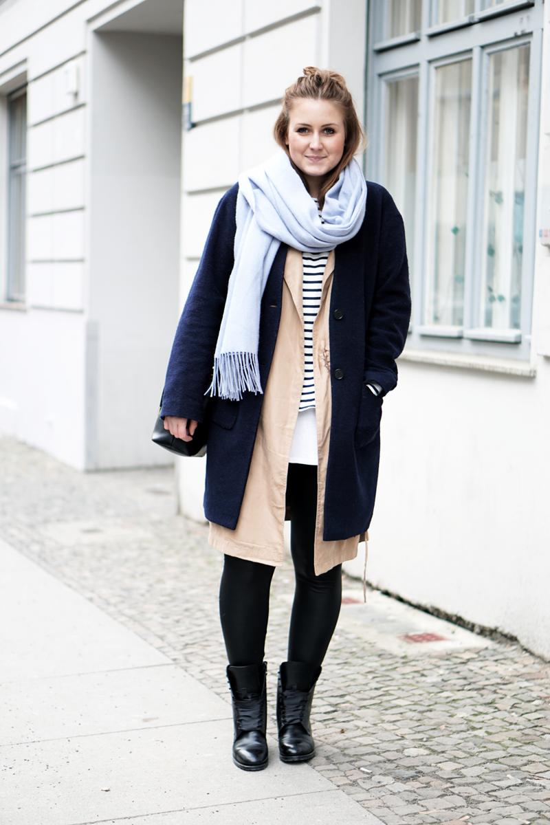 Streetstyle Fashion Week Outfit mit Streifen